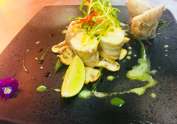 Steamed Plaice Mousse Roll with Green Asparagus, Lime Sauce