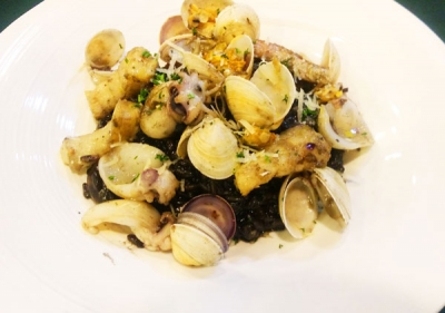 Seafood and Squid Ink Risotto with Garlic