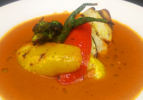 Roasted Tomato Soup with Grilled Vegetables