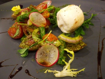 Buffalo Mozzarella Cheese with Heirloom Tomatoes and Asparagus Salad